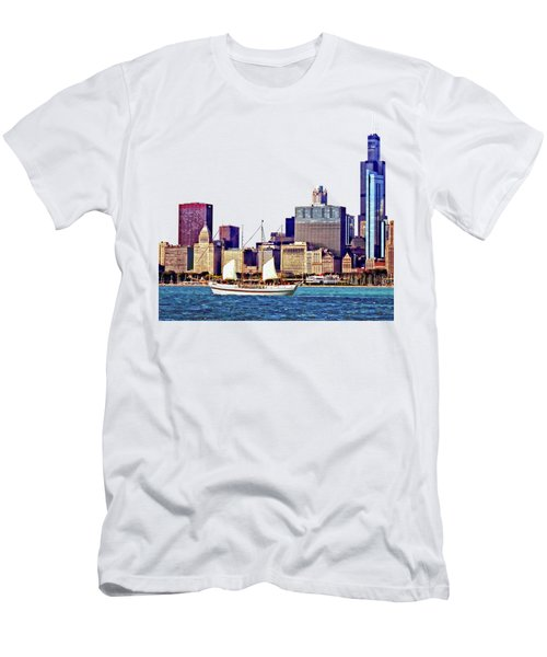 Chicago Il - Schooner Against Chicago Skyline Men's T-Shirt (Slim Fit) by Susan Savad