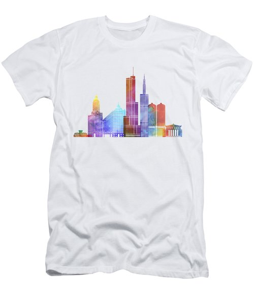 Chicago Landmarks Watercolor Poster Men's T-Shirt (Slim Fit) by Pablo Romero