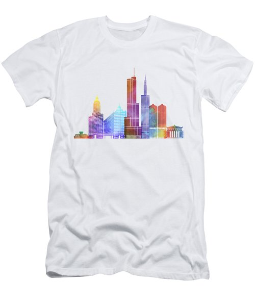 Chicago Landmarks Watercolor Poster Men's T-Shirt (Athletic Fit)