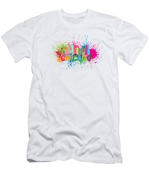 Chicago Skyline Paint Splatter Text Illustration Men's T-Shirt (Athletic Fit)