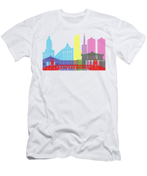 Chicago Skyline Pop Men's T-Shirt (Slim Fit) by Pablo Romero