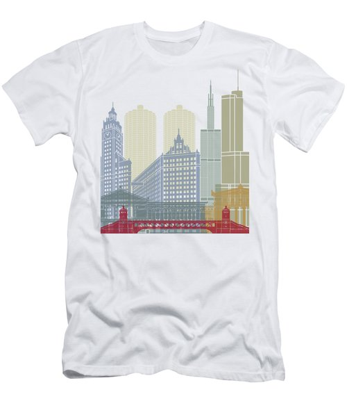 Chicago Skyline Poster Men's T-Shirt (Slim Fit) by Pablo Romero