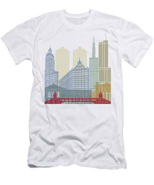 Chicago Skyline Poster Men's T-Shirt (Athletic Fit)