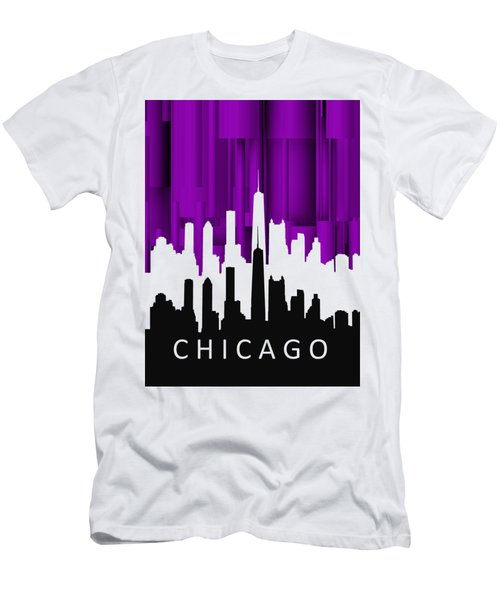 Chicago Violet In Negative Men's T-Shirt (Slim Fit) by Alberto RuiZ