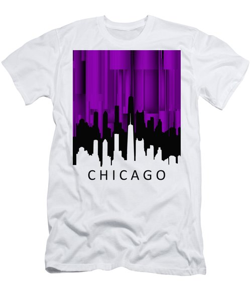 Chicago Violet Vertical  Men's T-Shirt (Slim Fit) by Alberto RuiZ