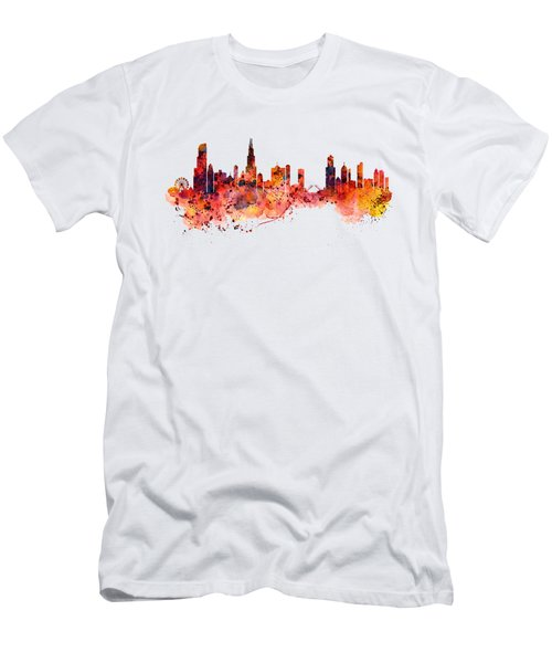 Chicago Watercolor Skyline Men's T-Shirt (Athletic Fit)