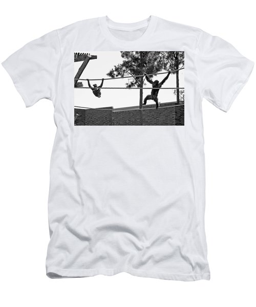 Men's T-Shirt (Athletic Fit) featuring the photograph Chimps In Black And White by Miroslava Jurcik