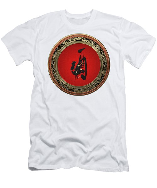 Chinese Zodiac - Year Of The Rooster On White Leather Men's T-Shirt (Athletic Fit)