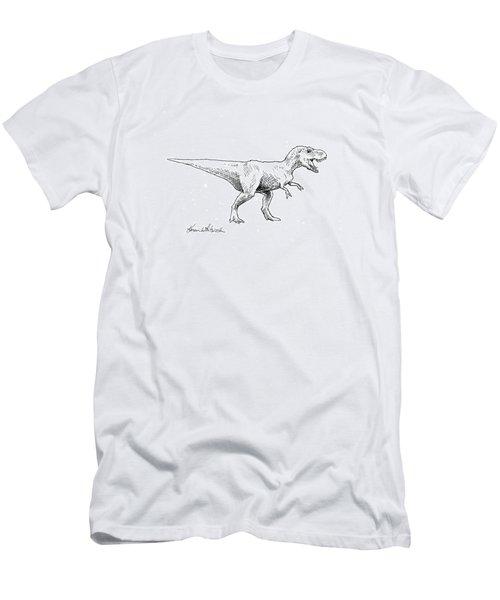 Men's T-Shirt (Slim Fit) featuring the drawing Tyrannosaurus Rex Dinosaur T-rex Ink Drawing Illustration by Karen Whitworth