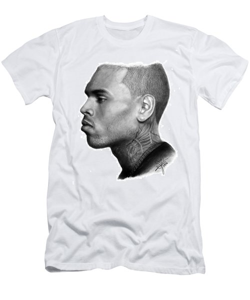 Chris Brown Drawing By Sofia Furniel Men's T-Shirt (Slim Fit) by Jul V