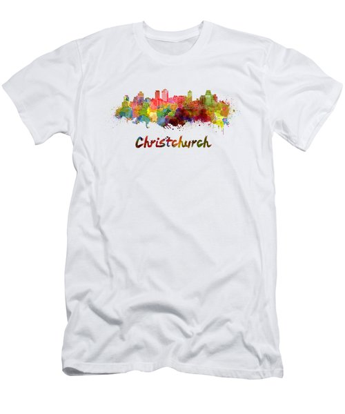 Christchurch Skyline In Watercolor Men's T-Shirt (Athletic Fit)