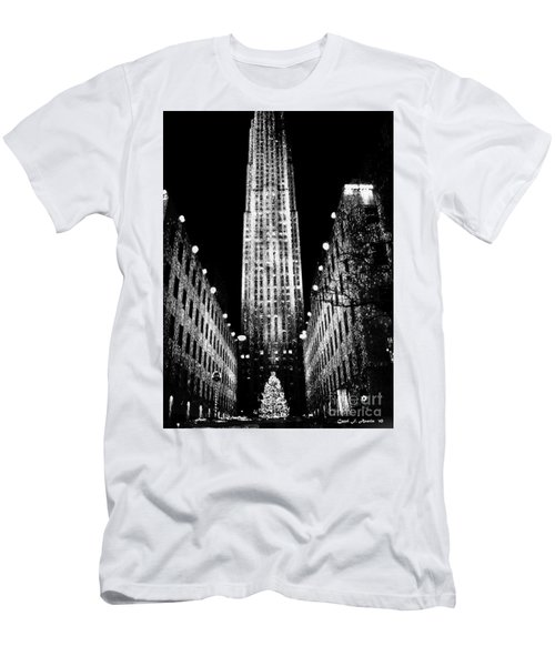 Christmas In New York City Men's T-Shirt (Slim Fit) by Carol F Austin