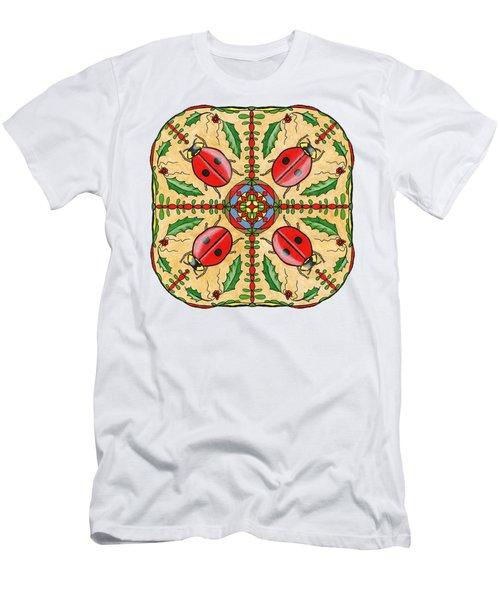 Christmas Ladybug Mandala Men's T-Shirt (Athletic Fit)