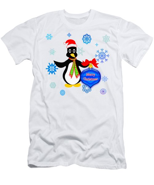 Christmas Penguin Men's T-Shirt (Slim Fit) by Methune Hively