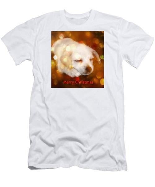 Men's T-Shirt (Slim Fit) featuring the photograph Christmas Puppy by Amanda Eberly-Kudamik