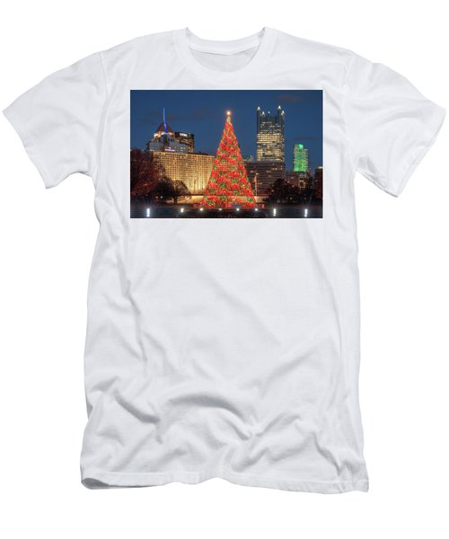 Men's T-Shirt (Slim Fit) featuring the photograph Christmas  Season In Pittsburgh  by Emmanuel Panagiotakis