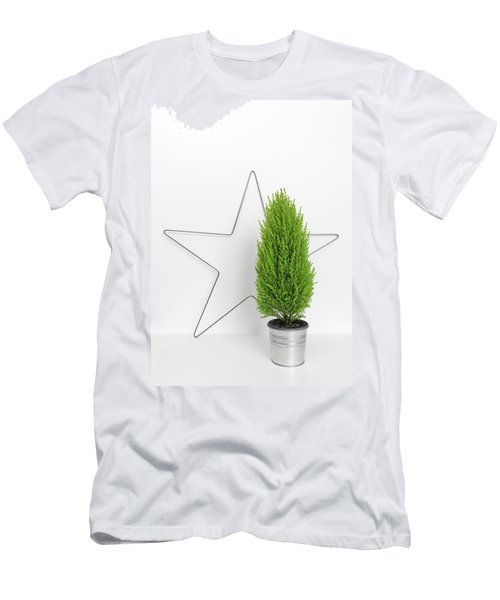 Christmas Star And Little Green Tree Men's T-Shirt (Slim Fit) by GoodMood Art