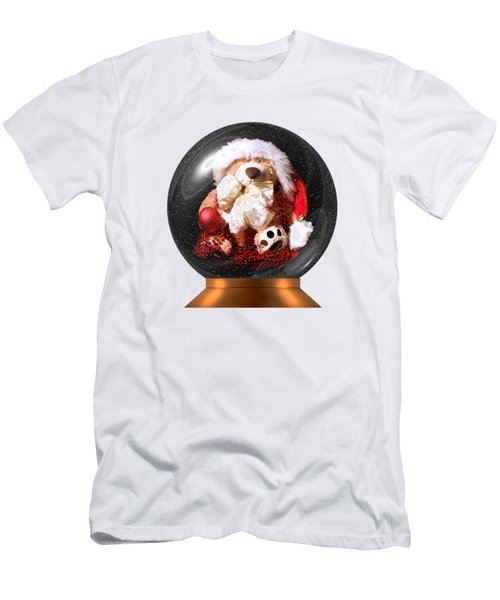 Christmas Teddy Snow Globe On A Transparent Background Men's T-Shirt (Athletic Fit)