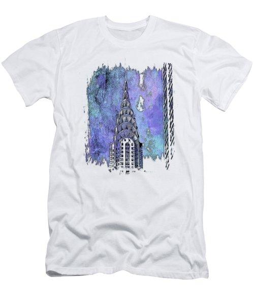 Chrysler Spire Berry Blues 3 Dimensional Men's T-Shirt (Slim Fit)