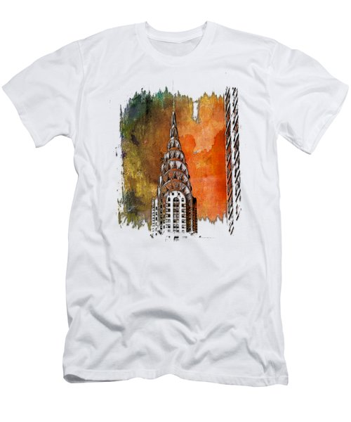 Chrysler Spire Earthy Rainbow 3 Dimensional Men's T-Shirt (Slim Fit) by Di Designs