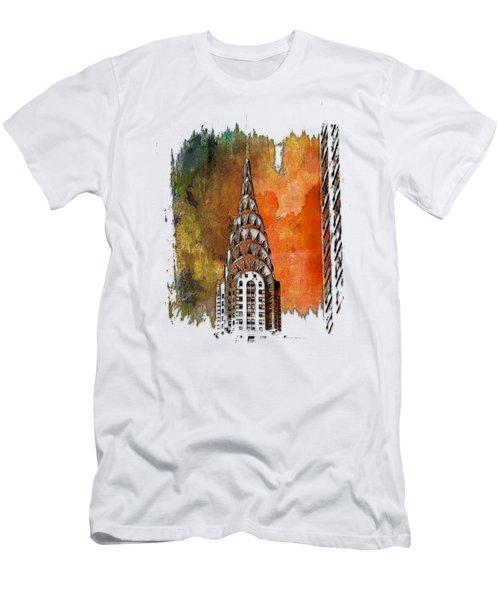Chrysler Spire Earthy Rainbow 3 Dimensional Men's T-Shirt (Athletic Fit)