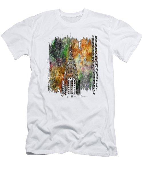 Chrysler Spire Muted Rainbow 3 Dimensional Men's T-Shirt (Slim Fit)