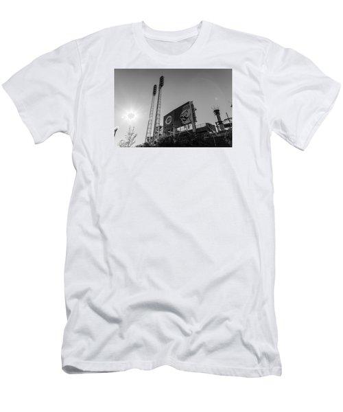 Cincinnati Reds Riverfront Stadium Black And White  Men's T-Shirt (Slim Fit) by John McGraw