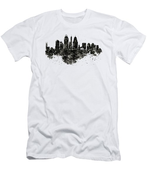 Men's T-Shirt (Slim Fit) featuring the mixed media Cincinnati Skyline Black And White by Marian Voicu