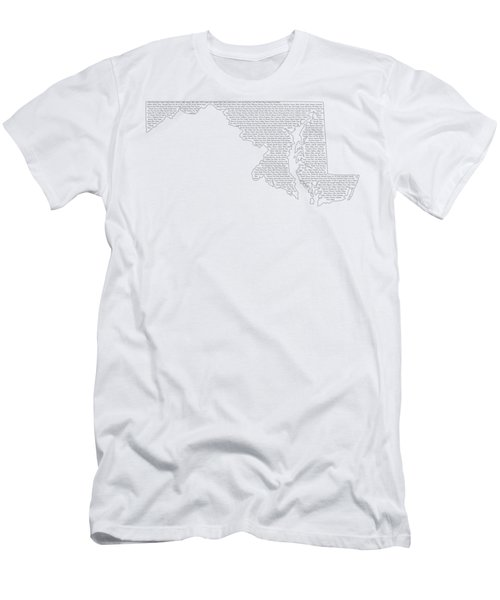Cities And Towns In Maryland Black Men's T-Shirt (Slim Fit) by Custom Home Fashions