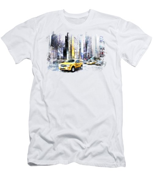 City-art Times Square II Men's T-Shirt (Slim Fit) by Melanie Viola