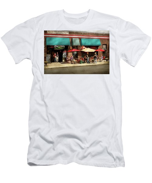 Men's T-Shirt (Slim Fit) featuring the photograph City - Edison Nj - Pino's Basket Shop by Mike Savad