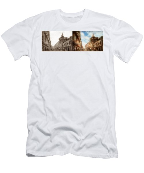 Men's T-Shirt (Slim Fit) featuring the photograph City - Scotland - Tolbooth Operator 1865 - Side By Side by Mike Savad