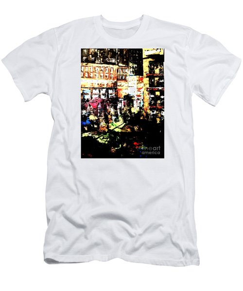 Men's T-Shirt (Slim Fit) featuring the painting City Stroll by Denise Tomasura
