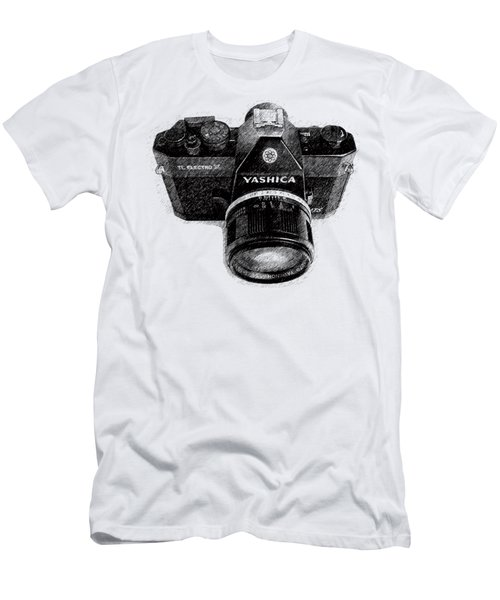 Men's T-Shirt (Slim Fit) featuring the drawing Classic Yashica Slr Film Camera by Edward Fielding