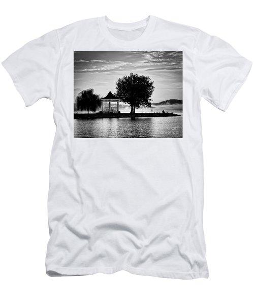 Claytor Lake Gazebo - Black And White Men's T-Shirt (Athletic Fit)