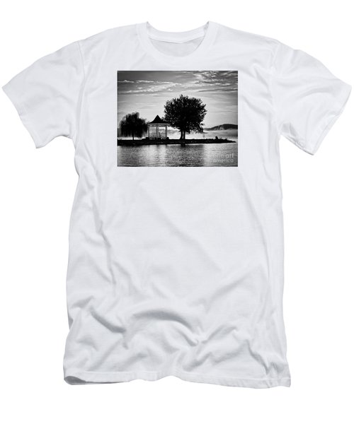 Claytor Lake Gazebo - Black And White Men's T-Shirt (Athletic Fit)