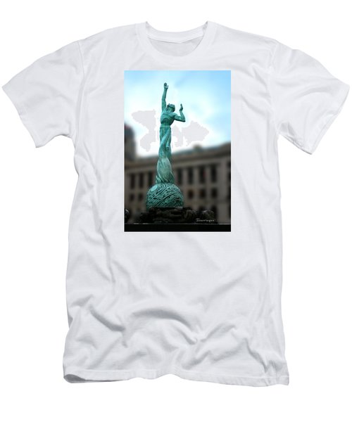 Men's T-Shirt (Slim Fit) featuring the photograph Cleveland War Memorial Fountain by Terri Harper