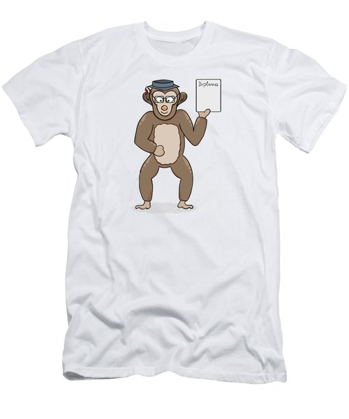 Clever Monkey With Diploma Men's T-Shirt (Athletic Fit)