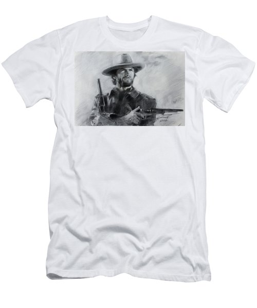 Men's T-Shirt (Slim Fit) featuring the drawing Clint Eastwood by Viola El