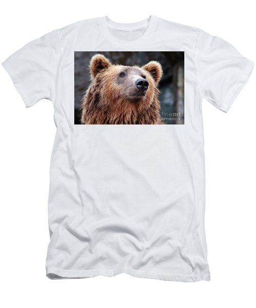 Men's T-Shirt (Slim Fit) featuring the photograph Close Up Bear by MGL Meiklejohn Graphics Licensing