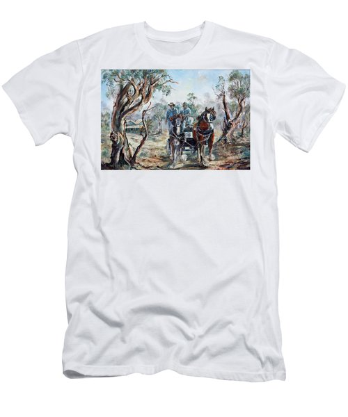 Men's T-Shirt (Athletic Fit) featuring the painting Clydesdales And Cart by Ryn Shell