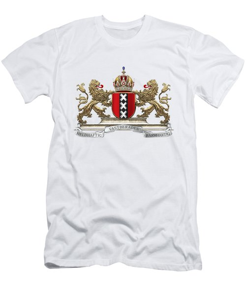 Coat Of Arms Of Amsterdam Over White Leather  Men's T-Shirt (Athletic Fit)