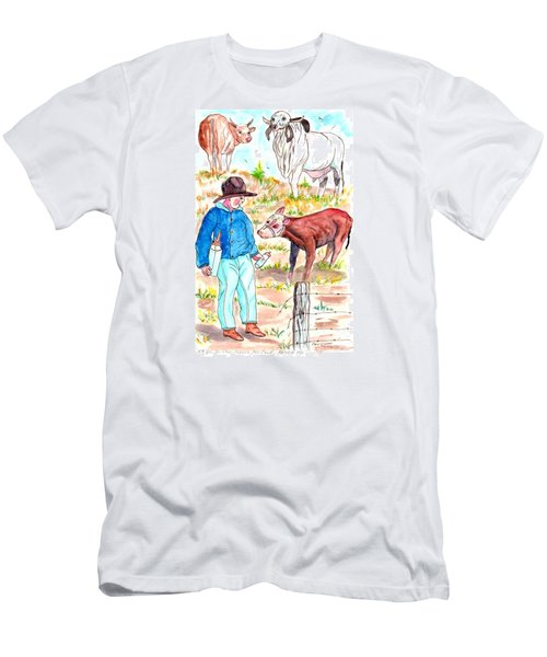 Coaxing The Herd Home Men's T-Shirt (Slim Fit) by Philip Bracco