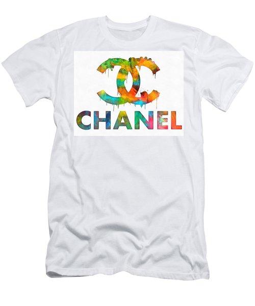 Coco Chanel Paint Splatter Color Men's T-Shirt (Athletic Fit)