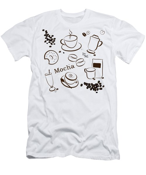 Coffee And Cafe Background Men's T-Shirt (Slim Fit) by Serena King