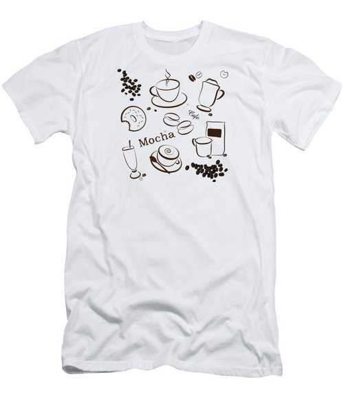Coffee/cafe Pattern Background Men's T-Shirt (Slim Fit) by Serena King