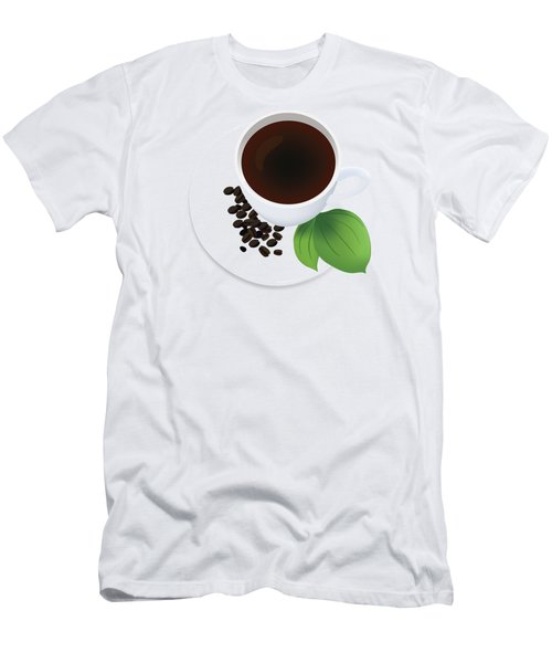 Coffee Cup On Saucer With Beans Men's T-Shirt (Slim Fit) by Serena King