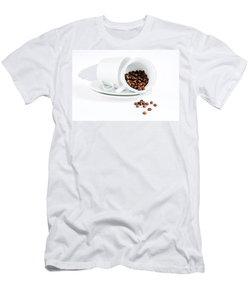 Men's T-Shirt (Slim Fit) featuring the photograph Coffee Cups And Coffee Beans  by Ulrich Schade
