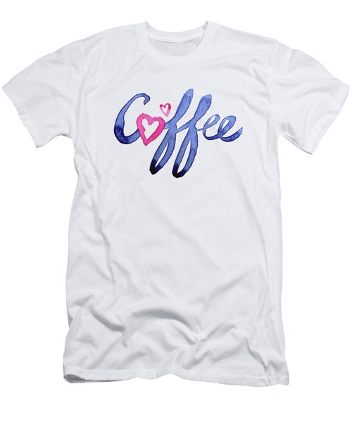 Coffee Lover Typography Men's T-Shirt (Slim Fit) by Olga Shvartsur
