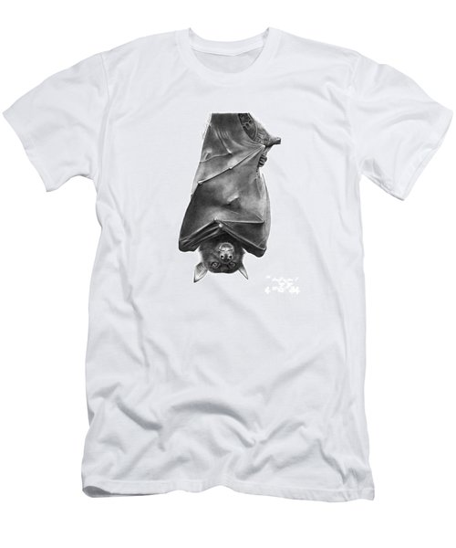 Men's T-Shirt (Slim Fit) featuring the drawing Coffie The Fruit Bat by Abbey Noelle